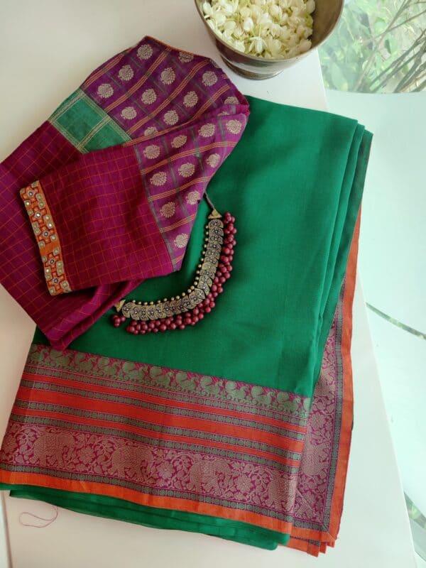 green chiffon saree with kanchi cotton border1