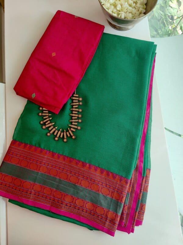 green chiffon saree with kanchi cotton border2