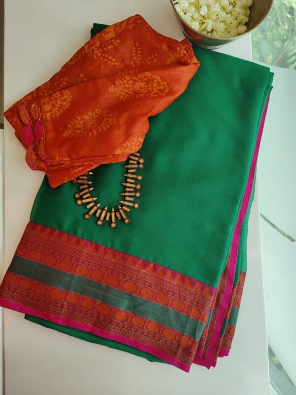 green chiffon saree with kanchi cotton border3