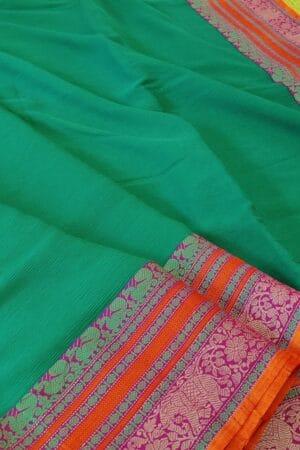 green chiffon saree with kanchi cotton border5