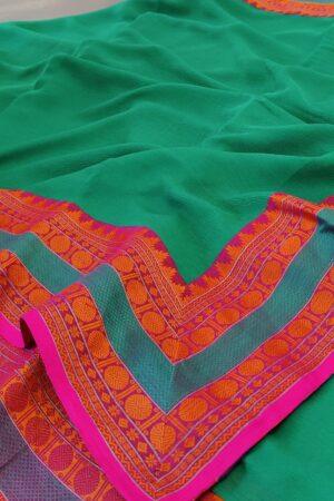 green chiffon saree with kanchi cotton border6