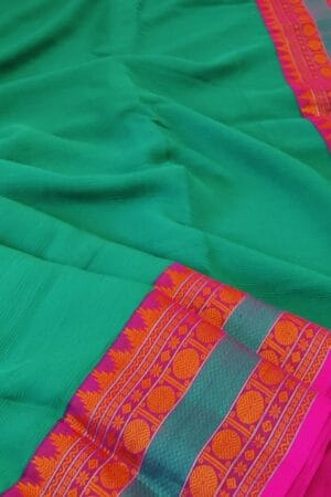 green chiffon saree with kanchi cotton border7
