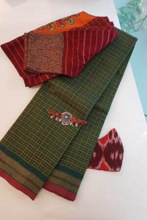 green kanchi cotton with checks body
