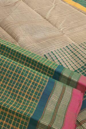 green kanchi cotton with checks body1