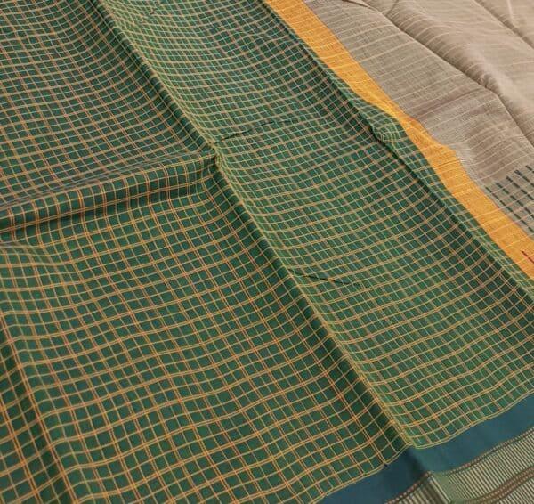 green kanchi cotton with checks body3