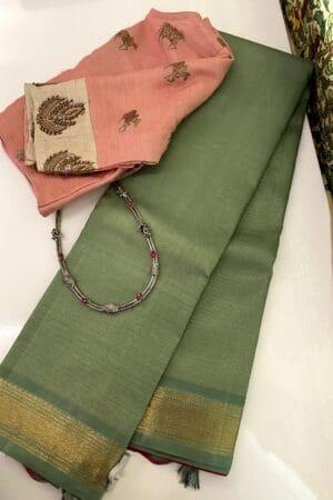 green vaira oosi kanchi silk saree