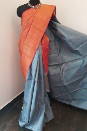 grey and peach shoudler kanchi silk saree