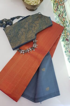 grey and peach shoudler kanchi silk saree1