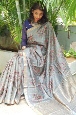 grey tussar saree with zari checks3
