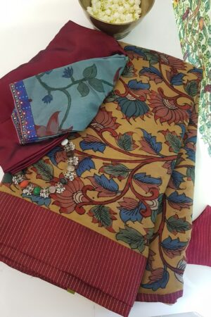 half and half chiffon kalamkari saree with maroon silk border with zari lines