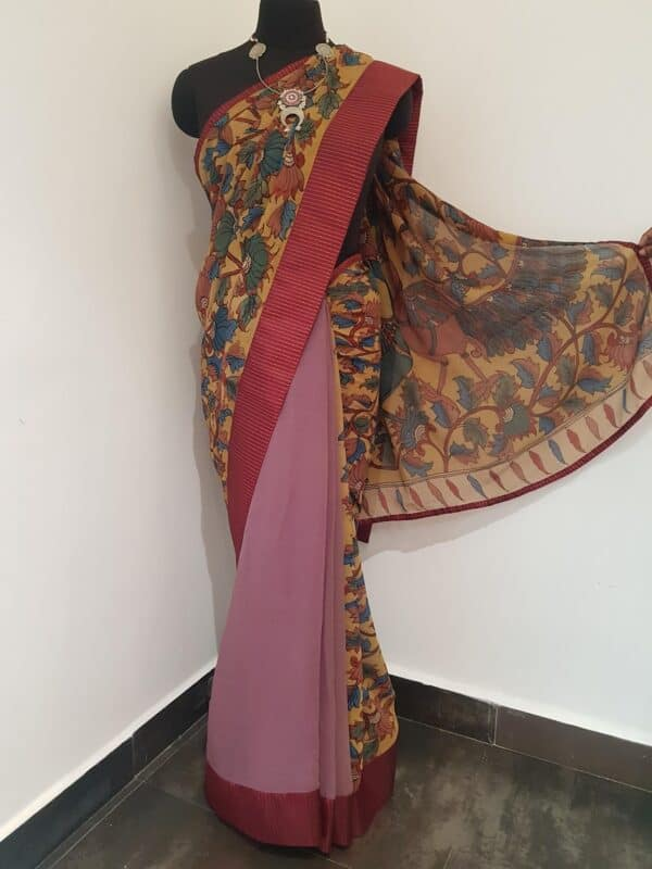 half and half chiffon kalamkari saree with maroon silk border with zari lines1