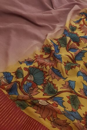 half and half chiffon kalamkari saree with maroon silk border with zari lines2