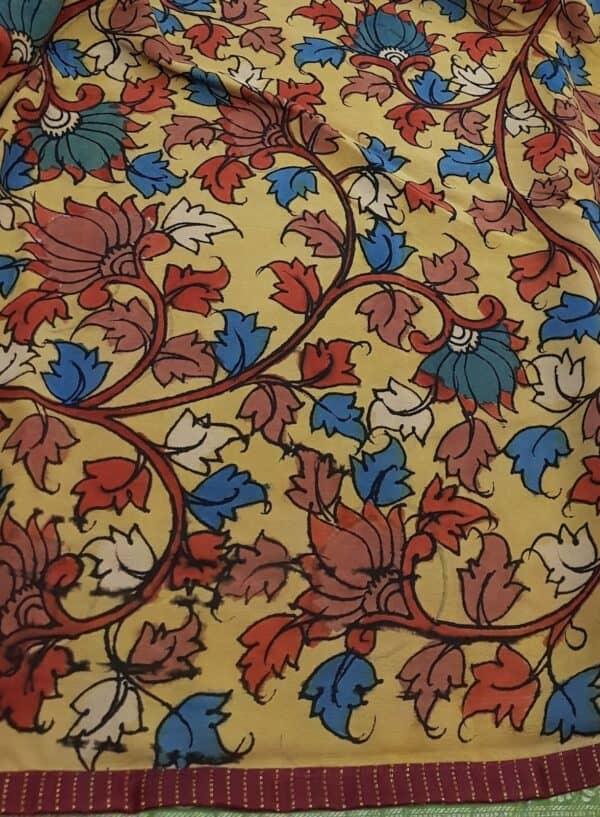 half and half chiffon kalamkari saree with maroon silk border with zari lines3