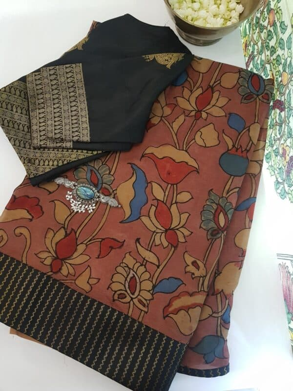 half and half chiffon saree with black kanchi silk border 1