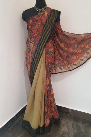 half and half chiffon saree with black kanchi silk border 3