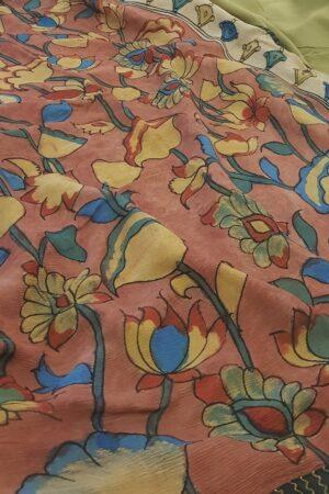 half and half chiffon saree with black kanchi silk border 5