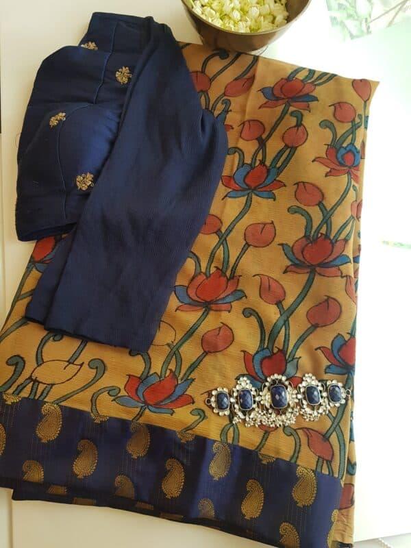 half and half chiffon saree with navy blue mango butta border