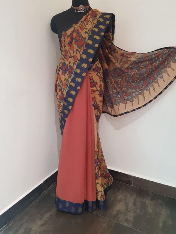 half and half chiffon saree with navy blue mango butta border1