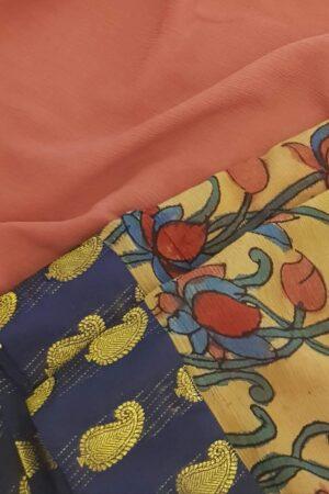 half and half chiffon saree with navy blue mango butta border3