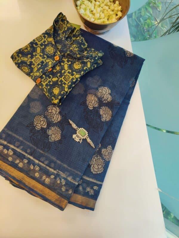 indigo blue roses kota saree