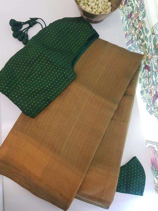light gold tissue tussar saree