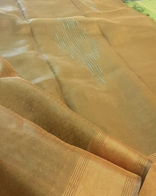light gold tissue tussar saree1
