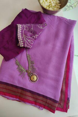 lilac chiffon saree with kanchi cotton border
