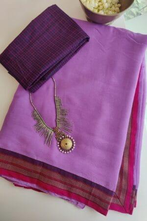 lilac chiffon saree with kanchi cotton border1