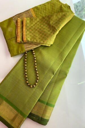 lime green kanchipuram silk saree with vaira oosi lines