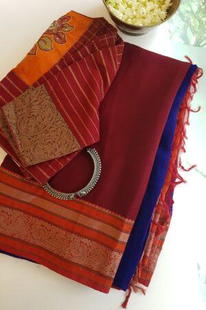 maroon and blue half and half chiffon saree with kanchi cotton bordere