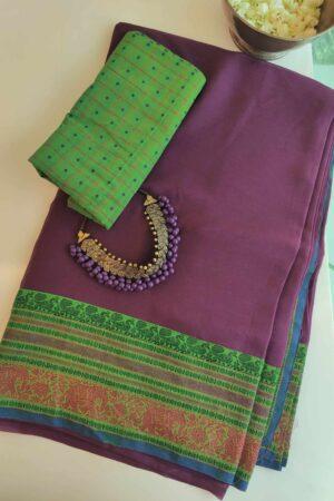 mauve chiffon saree with green kanchi cotton border