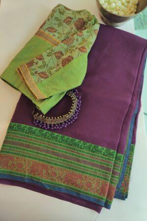 mauve chiffon saree with green kanchi cotton border1