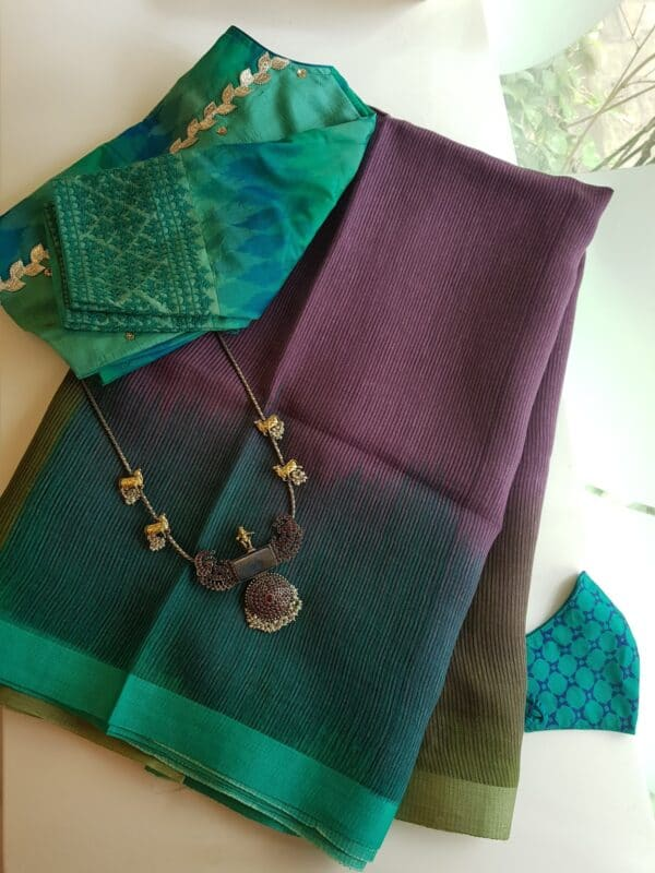 mauve with teal and olive green