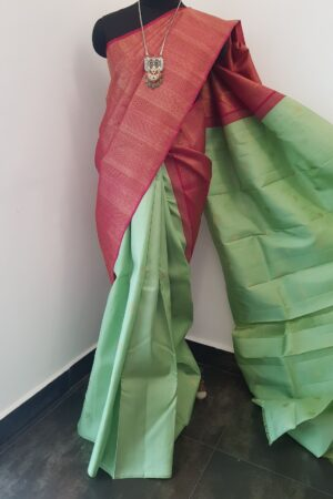 mint green and pink shoulder silk saree1