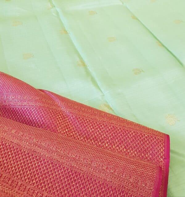 mint green and pink shoulder silk saree2