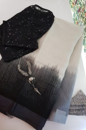 monotone white linen moonga saree