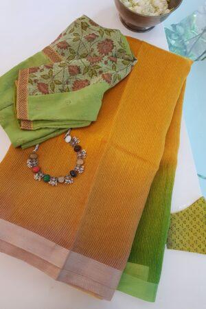 mustard and green moonga linen saree