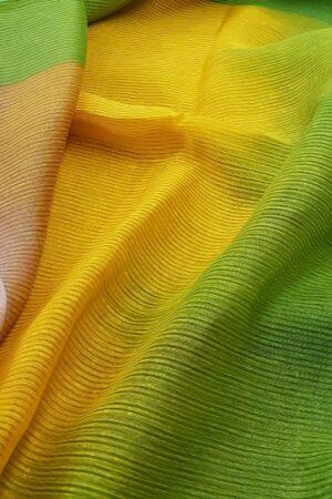 mustard and green moonga linen saree1