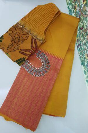mustard and peach box pattern kanchi silk saree