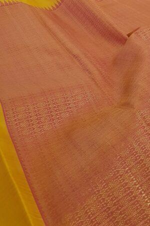 mustard and peach box pattern kanchi silk saree1
