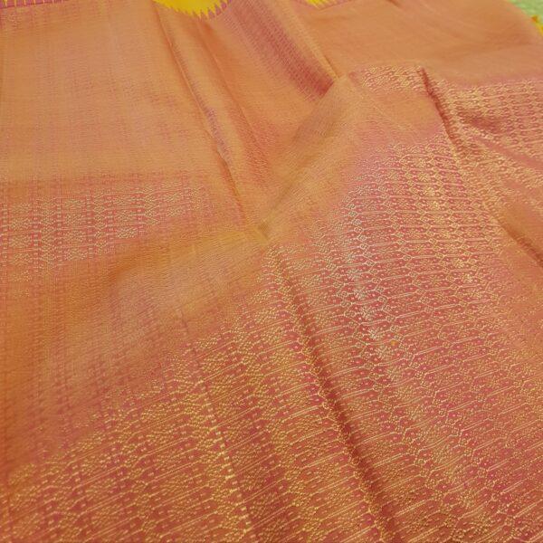 mustard and peach box pattern kanchi silk saree2
