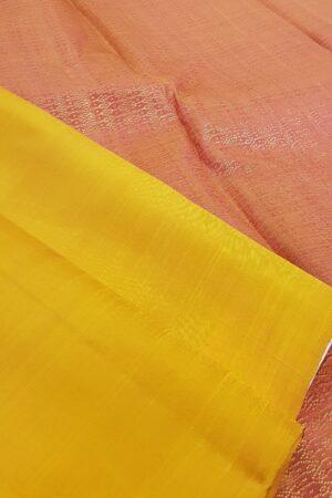 mustard and peach box pattern kanchi silk saree3