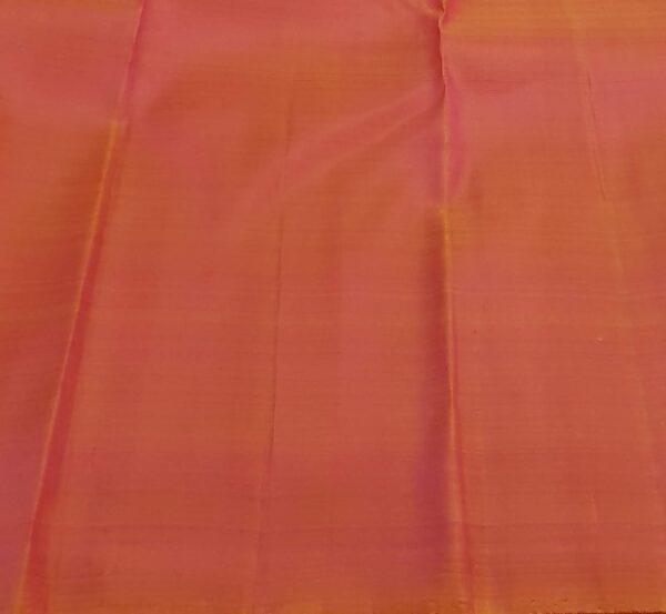 mustard and peach box pattern kanchi silk saree4