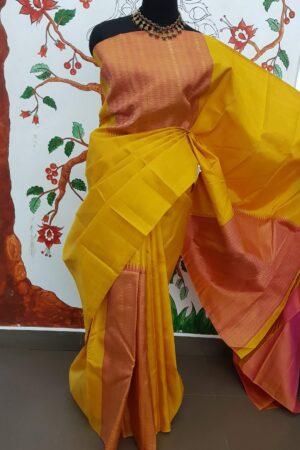 mustard and peach box pattern kanchi silk saree5