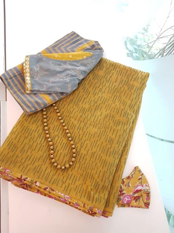 mustard kota saree