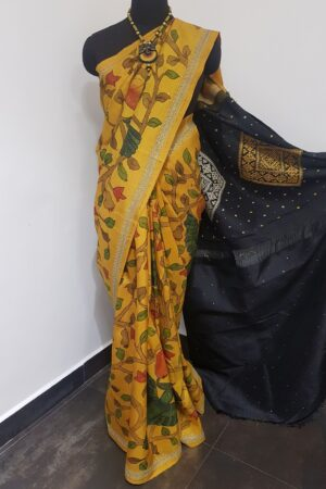 mustard with black pallu and kutch work1