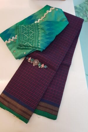 navy blue lanchi cotton saree with checks body