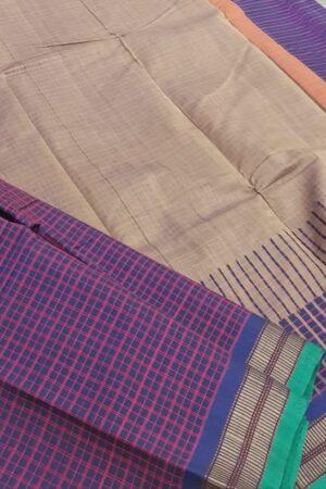 navy blue lanchi cotton saree with checks body1