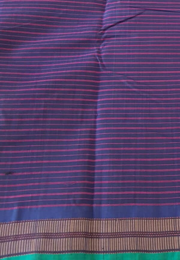 navy blue lanchi cotton saree with checks body2