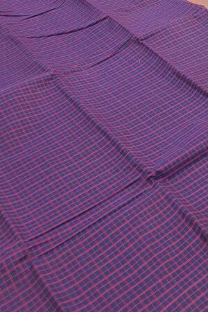 navy blue lanchi cotton saree with checks body3